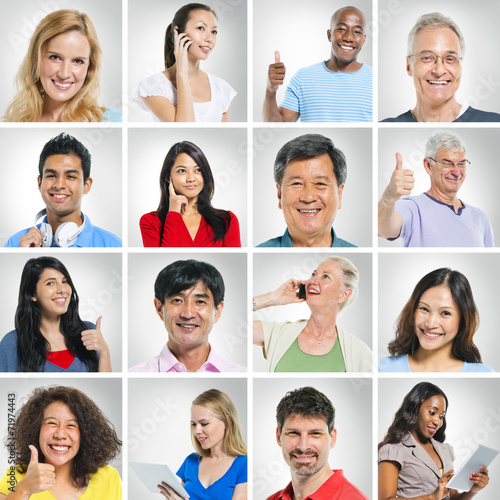 Fototapety, obrazy: Diverse Multi Ethnic People s Face in a Row