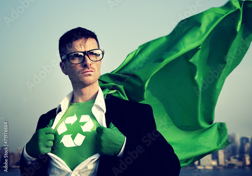 Fotografie, Obraz  Superhero With Recycling Symbol on Outfit