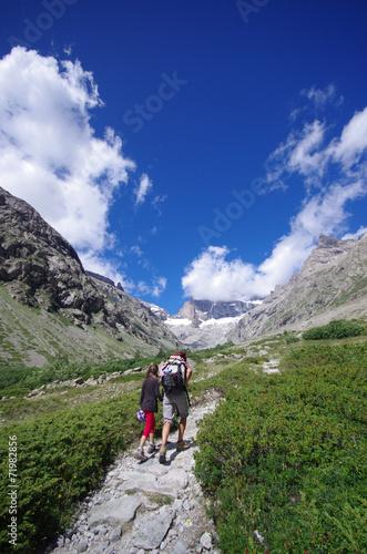 Spoed Fotobehang Alpinisme randonnée en montagne - oisans