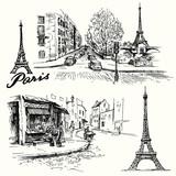 Fototapeta Fototapety z wieżą Eiffla - France, Paris - Eiffel tower - hand drawn set