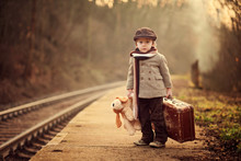 Adorable Boy On A Railway Stat...