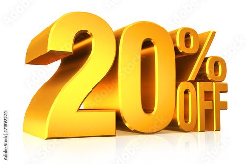 Fotografía  3D render gold text 20 percent off.