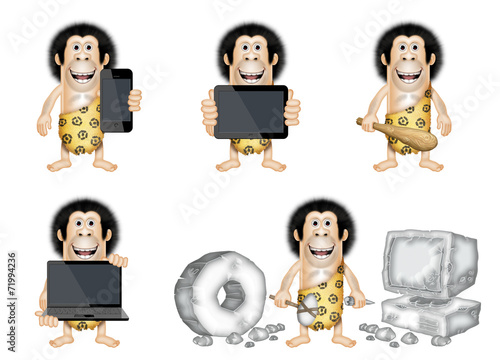 Photo  caveman with new technology gadgets