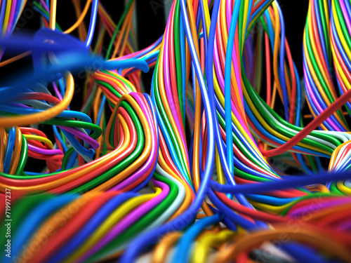 Fotografie, Obraz  Colorful cables. Abstract Technology 3d illustration