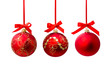 canvas print picture - Hunging red christmas ball isolated