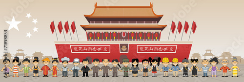 Papel de parede Chinese people in front of Forbidden city in Beijing , China