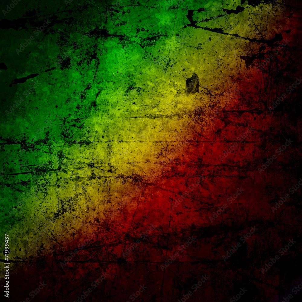 Fotografie, Obraz Red, yellow, green rasta flag on grunge textured concrete  wall