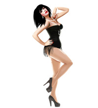 Illustration With Beautiful Sexy Girl Burlesque