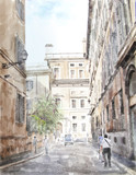 watercolor illustration of city scape - 72004459
