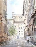 akwarela ilustracja miasta głąbik - 72004459