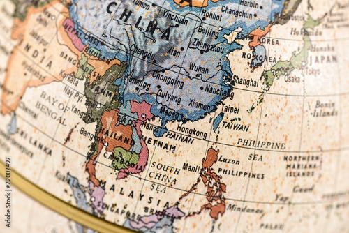 Fotomural 地球儀 東アジア 東南アジア
