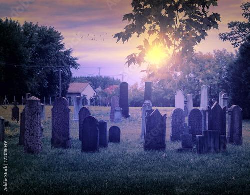 Printed kitchen splashbacks Cemetery Cemetery night