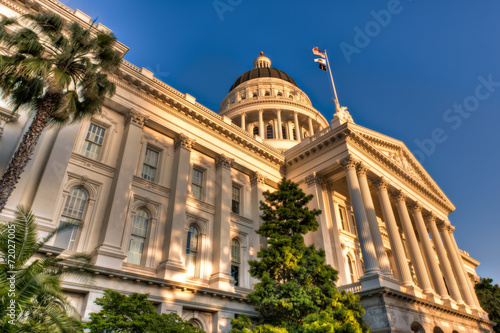 Photo  California State Capitol Lit by Setting Sun