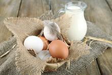 Eggs And Fresh Milk In Glass J...