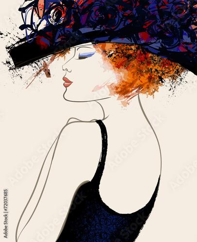 Acrylic Prints Art Studio Woman fashion model with hat