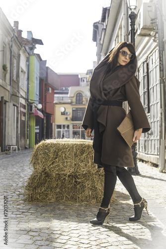 Girl in brown wool jacket Wallpaper Mural