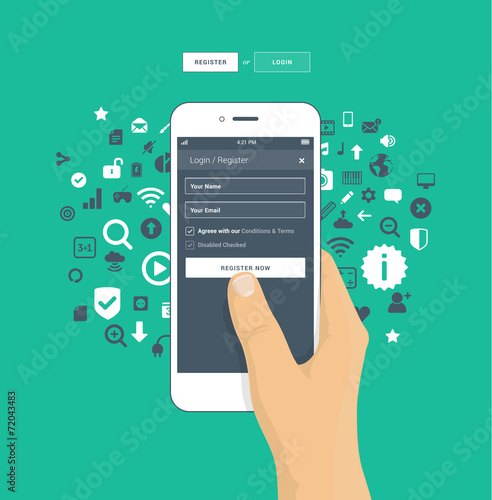 Fotografie, Obraz  Login / Register screen on mobile phone