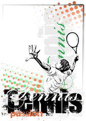 Panel Szklany Tenis tennis vector poster background