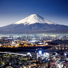 Fototapeta Tokio Mount Fuji. Fujiyama. Aerial view with cityspace surreal shot. J