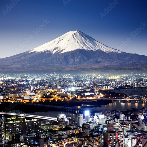 Mount Fuji. Fujiyama. Aerial view with cityspace surreal shot. J - 72049437