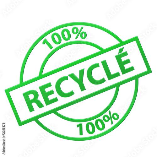 "Fotografia  Tampon ""100% Recyclé"" (vert)"