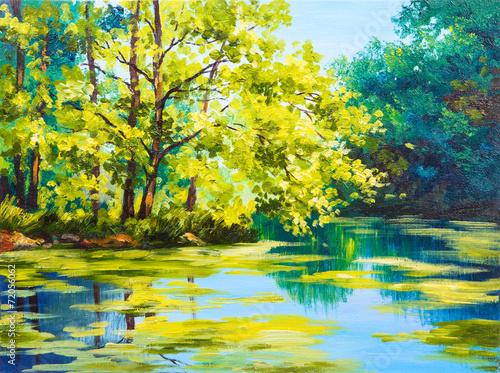 jezioro-w-lesie-stylizowany-na-obraz-olejny