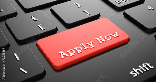 Photo Apply Now on Red Keyboard Button.