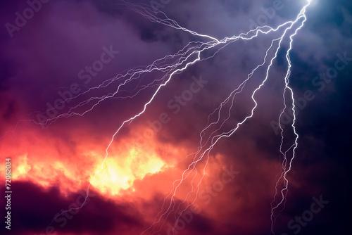 Obraz Lightning in Front of a Dramatic Background - fototapety do salonu