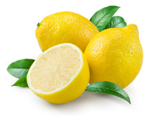 Lemon. Fruit With Leaves On A White Background.