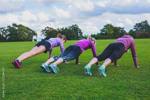 Fotografie, Obraz  Tři ženy dělá push up v parku