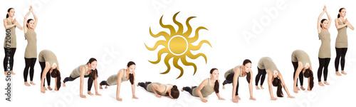 Ablauffolge des Sonnengrußes mit Sonnensymbol