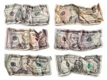 Set Of Crumpled Dollar Bills A...