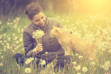 Happy Woman With Cat At Dandelion Field In Sunset
