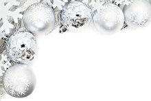 Christmas Corner Border Of Snowflakes And Silver Baubles