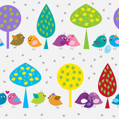 Plakat Seamless pattern with cute birds in the forest