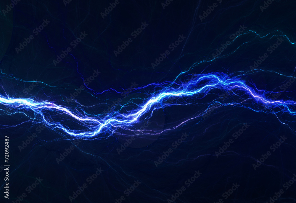 Fototapety, obrazy: Blue electric lighting, abstract electrical background