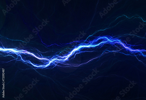 Fotografie, Obraz  Blue electric lighting, abstract electrical background