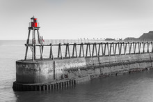 Scenic View Of Whitby Pier In Black And White, UK.