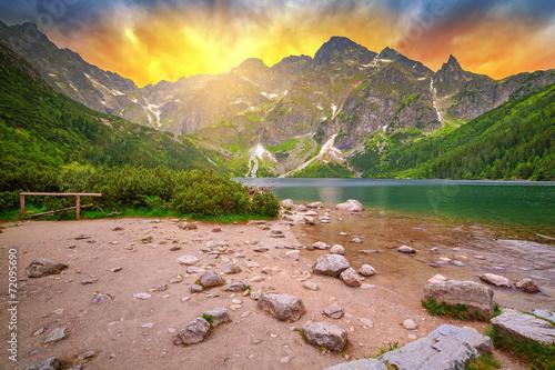 Eye of the Sea lake in Tatra mountains at sunset, Poland