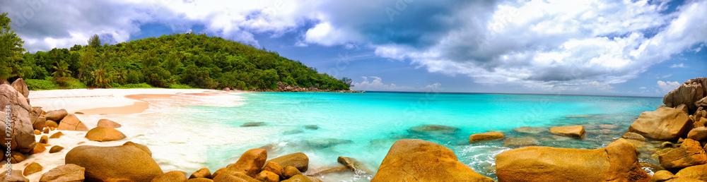 Fototapeta Anse Georgette beach panorama in Praslin Island, Seychelles
