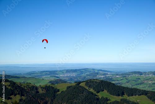 Fotobehang Bergen Gleitschirmflieger - Ebenalp - Alpstein - Schweiz
