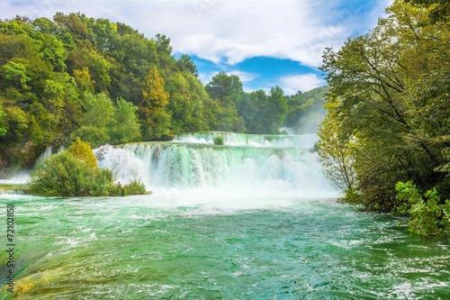 Poster Trees Skradinski buk waterfalls on Krka River National Park, Croatia