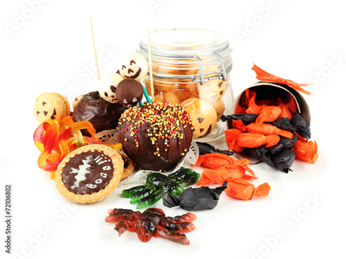 Poster Confiserie Different sweets for Halloween party, isolated on white