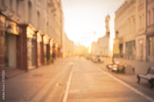Photographie  beautiful city street background at sunrise time.