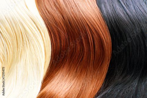 Fotografie, Obraz  Barvy na vlasy paletě. Blonde, hnědé a černé barvy na vlasy
