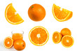 Oranges fruit isolated set collection in a studio shot