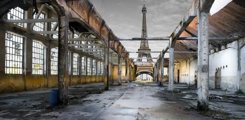 Fototapeta Industrialny Paesaggio di Parigi post apocalittico