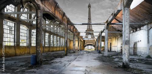 Poster Parijs Paesaggio di Parigi post apocalittico