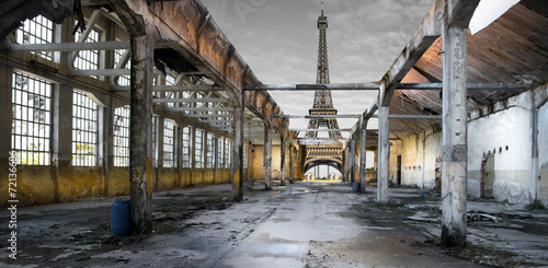 Staande foto Parijs Paesaggio di Parigi post apocalittico