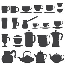 Vector Coffee Tea Cups And Pot...
